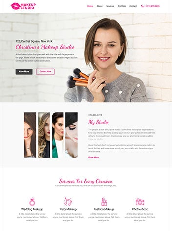 makeup image of sample website