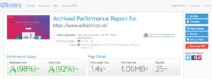 GTMetrix-Edition1 - website loading time Results